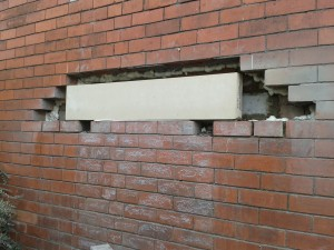The lintel placed in the wall